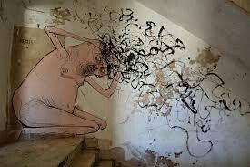 """Gibellina, """"i Ruderi"""" resti del terremoto del 1967 (oggi ancora in loco) (graffito difronte al Cretto)"""