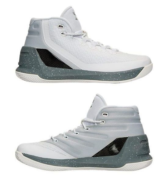 UNDER ARMOUR CURRY 3 BASKETBALL SUEDE SHOE WHITE - METALLIC SILVER - BLACK US SZ