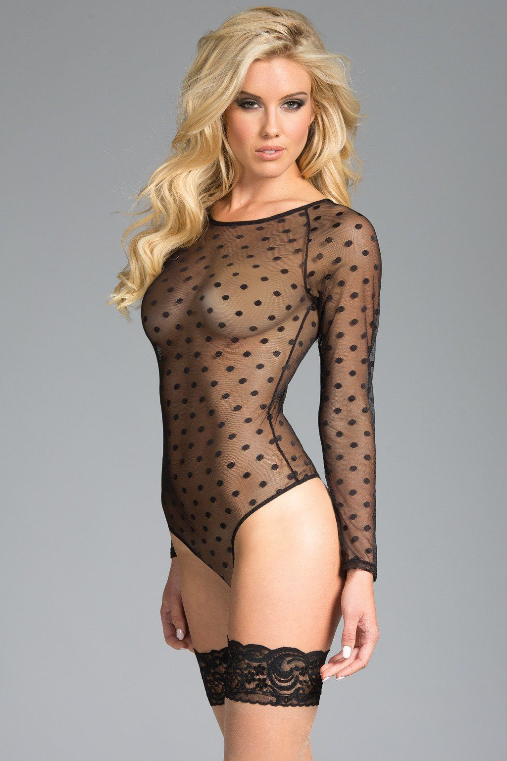 07f4538e4d Sheer long sleeve bodysuit in amazing black. Polka dot pattern. Bodysuit is  embroidered.  teddy  underwear  holidays  dressup  style  look  love
