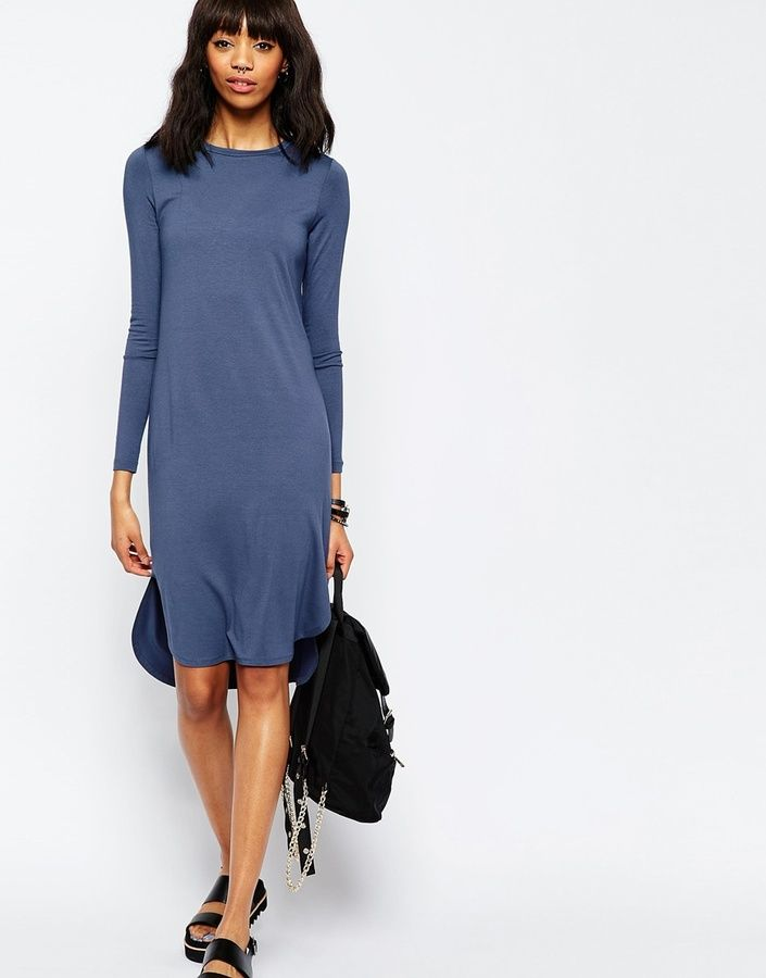 ASOS COLLECTION ASOS Midi Dress with Curved Hem