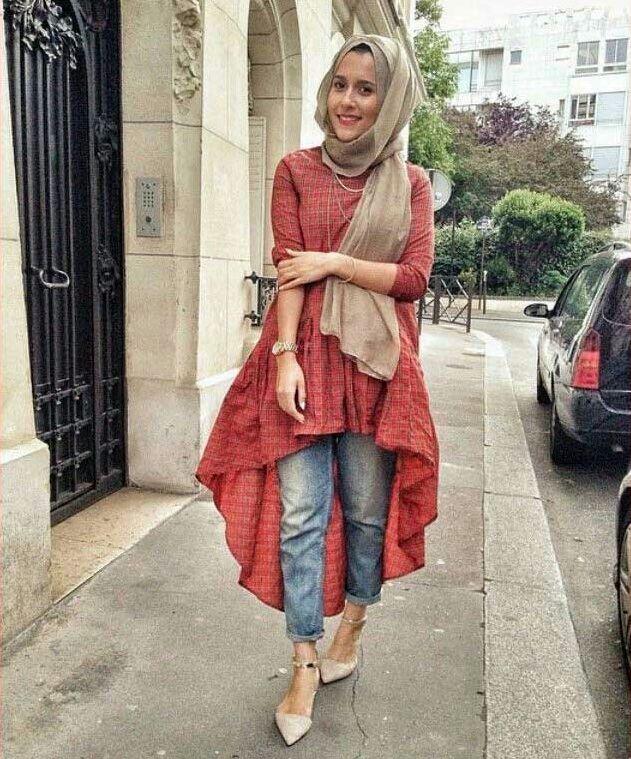 Cara Memadukan Hijab Dengan Celana Jeans Informasi Fashion Pinterest Gaya Hijab Hijab
