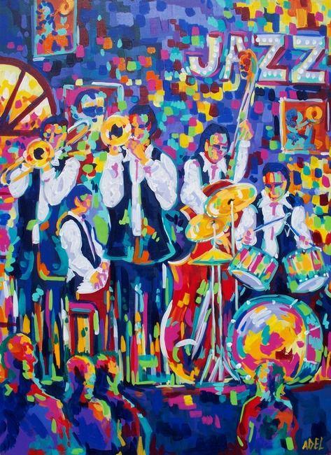 Jazz Club By Elaine Adel Cummins Jazz Wall Art African American Art Art