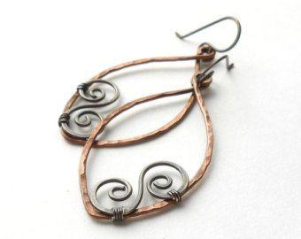 Antik Kupfer und Silber Dangle Hoops, Draht Werk Spiral Ohrringe ...