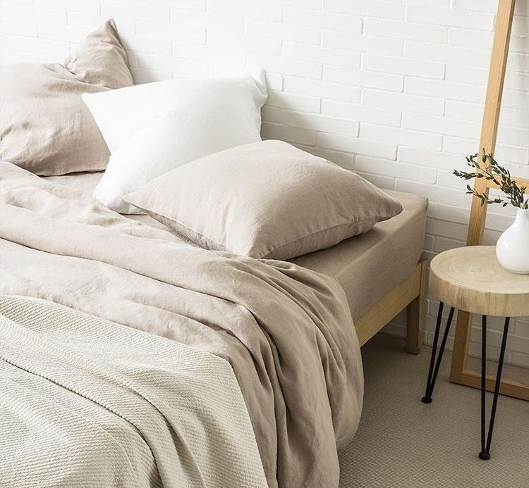 Taupe Faded Linen Bed Linen by Zara