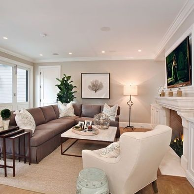 Sensational Narrow Living Room Tv Above Fireplace Home Brown Couch Home Interior And Landscaping Ologienasavecom