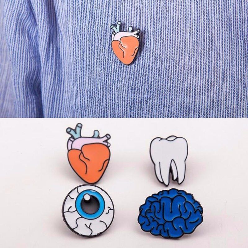 6ea23c35b0 Cartoon Button Pins Badge Jewelry Enamel Human Body Organs Brooches ...
