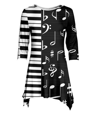 4f25a407d9af8 Look what I found on #zulily! Black & White Music Note Sidetail ...