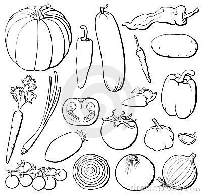 Vegetables Set B By Davor Ratkovic Via Dreamstime Embroidery Food Clipart Black And White Vegetable Clipart