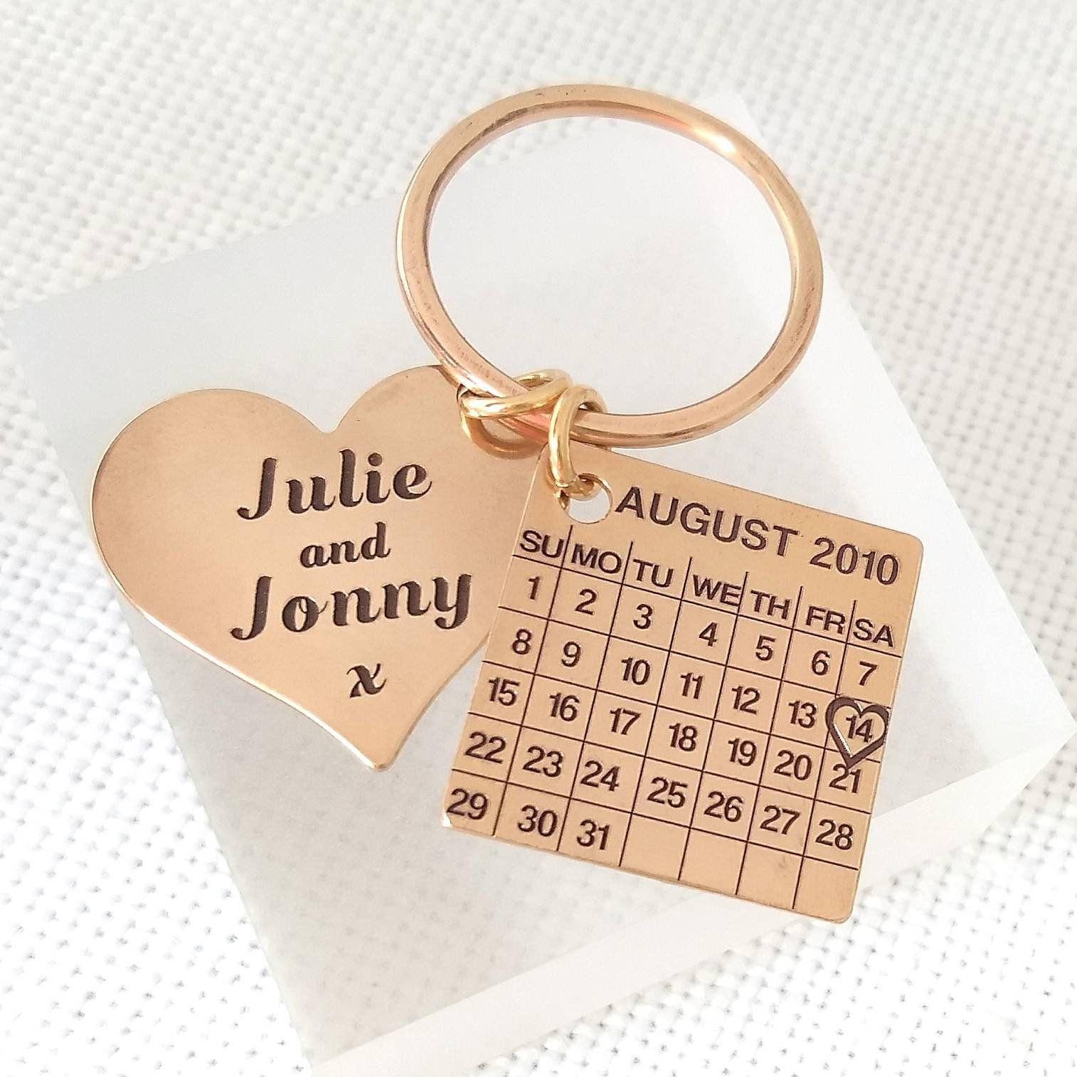 Bronze Anniversary Keychain, Bronze gift, 8th anniversary