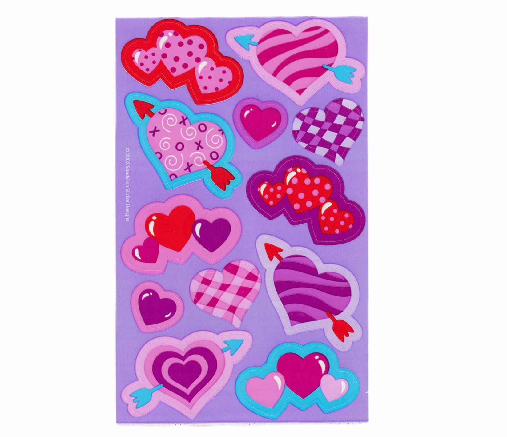 Sandylion hearts and love  Stickers lot of 9 SHEETS 4/'/' X 6/'/'