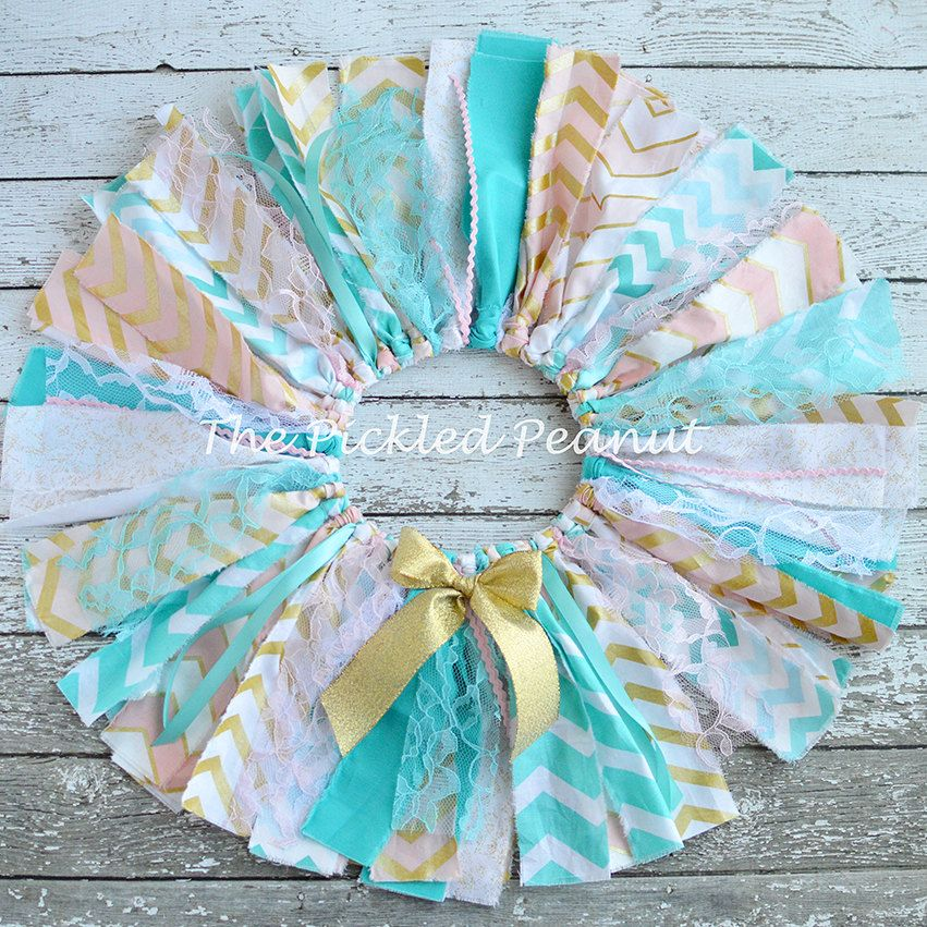 Pink Aqua Gold Baby Tutu Vintage Shabby Chic Sparkle Fabric Rag Tie Baby Tutu Bow Headband 1st First birthday outfit cake smash girl toddler by ThePickledPeanut on Etsy