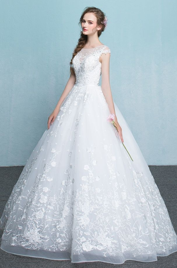 Ball Gowns Long A Line Wedding Dresseslace Up Cap Sleeves Wedding