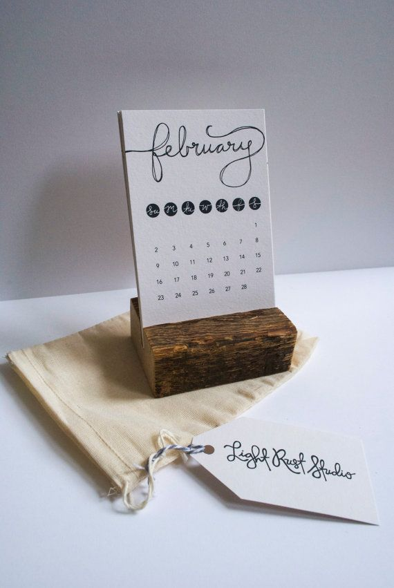 Rustic Desk Calendar With Stand Typographic By Lightruststudio