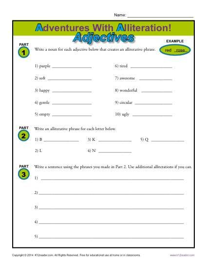 Alliteration And Adjectives Figurative Language Worksheets Alliteration Figurative Language Worksheet Language Worksheets Alliteration worksheets with answers