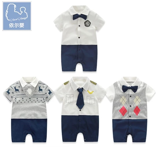 Yierying Baby Boy Rompers Gentleman Jumpsuits Newborn Baby Clothes with Bow Tie