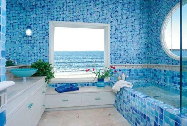 id es de d co de salle de bain en style marin salle de bain pinterest mosaique marocaine. Black Bedroom Furniture Sets. Home Design Ideas
