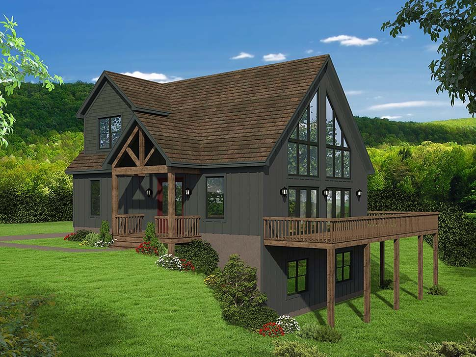 Traditional Style House Plan 51697 With 3 Bed 3 Bath Mountain House Plans Lake House Plans A Frame House