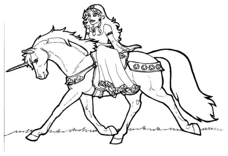 Ausmalbilder Prinzessin Einhorn