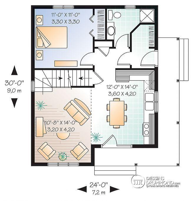 Plan de Rez-de-chaussée Maison à bon prix, possibilité de 3 chambres