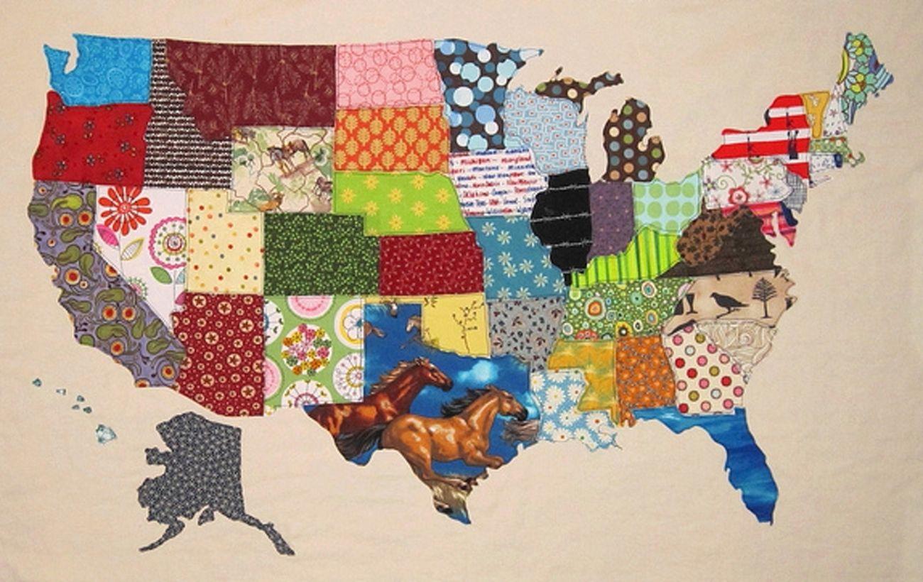 USA Patchwork Map\
