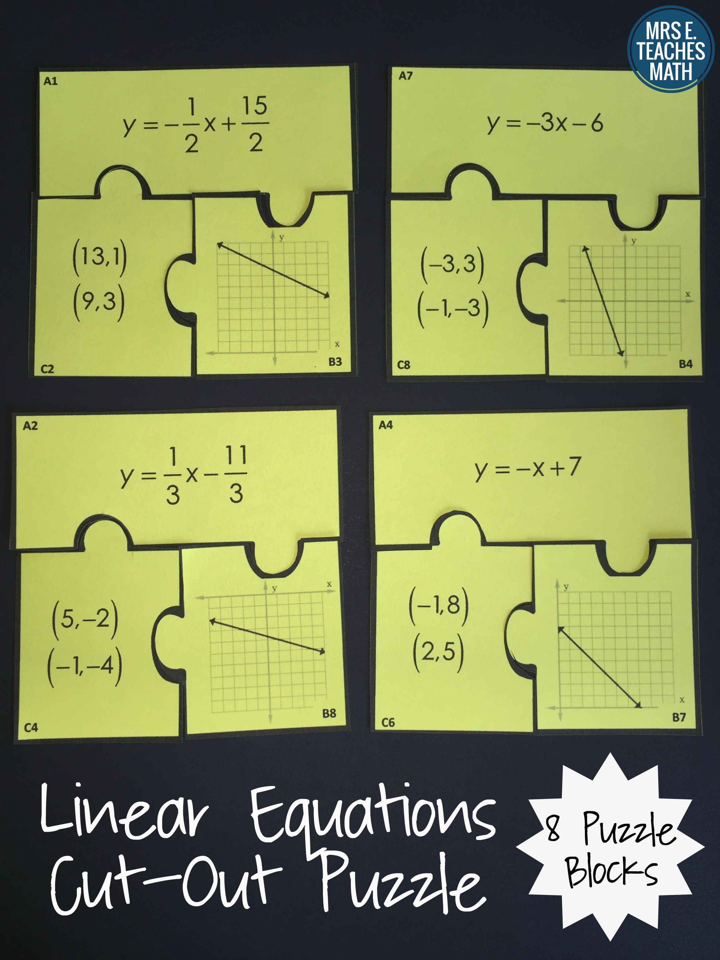 Linear Equations Cut Out Puzzle Educational Resources Pinterest