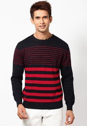 Add glamour to your overall look with this red sweater from the latest collection of John Players. Featuring a stunning stripe pattern, this one will go well with casual outfits. Made from 100% cotton, this lightweight, slim-fit sweater is also soft against the skin.