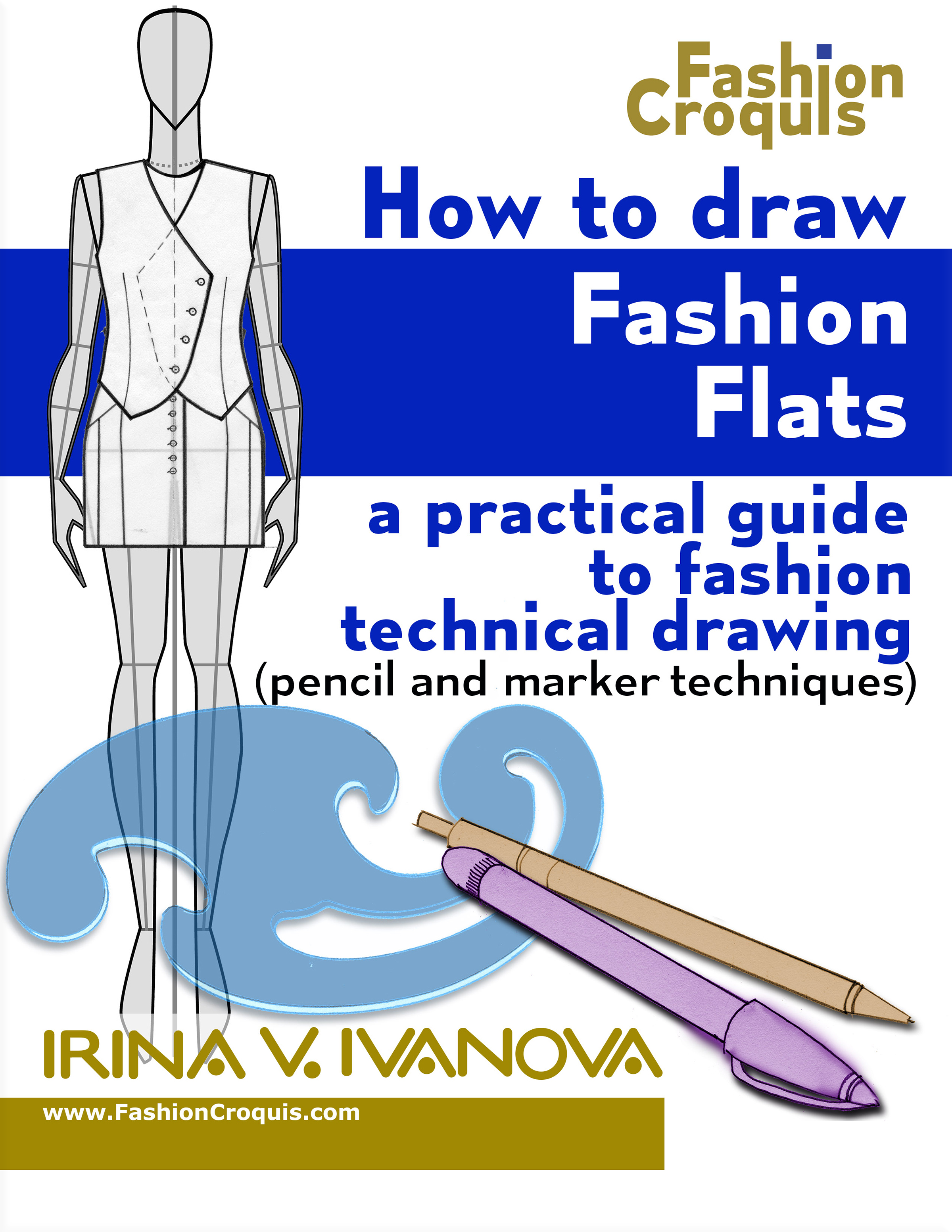 Technical drawing and Fashion flats sketches for clothing