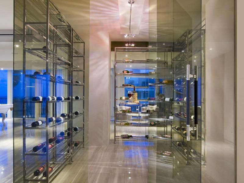 Marvelous Walk In Wine Room #6: Modern Glass Wine Room In Miami Beach Florida. Double Walk-in Wine Room.