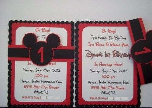 unique mickey mouse invitations Google Search Disney Pinterest