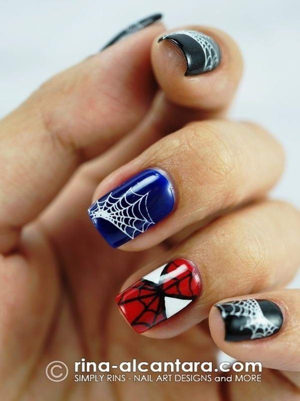 spiderman nail art | Uñas | Pinterest | Diseños de uñas, Uñas cortas ...