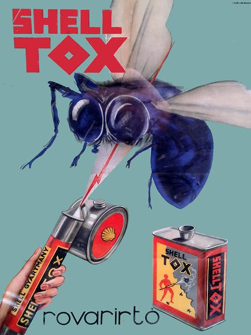 Shell Tox insecticide. Hungarian advertising poster, 1938 ...