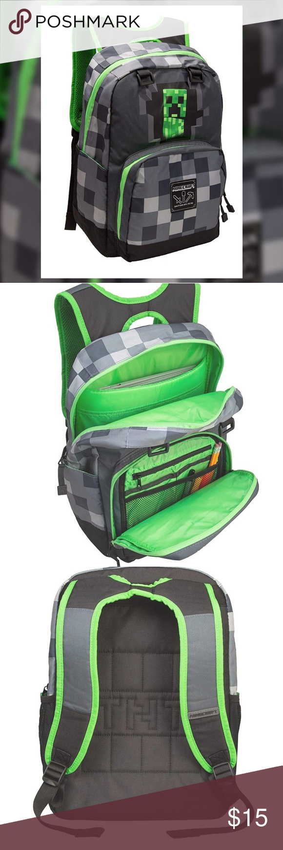 43da97e0af Minecraft Creeper paddle backpack This cool grey backpack is perfect for  the Minecraft fan. It