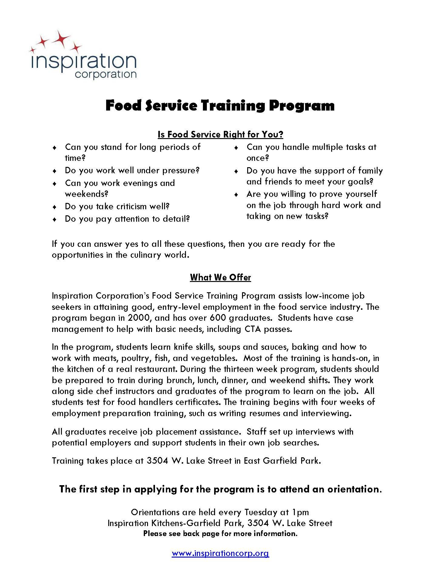 Food service training program available to job seekers