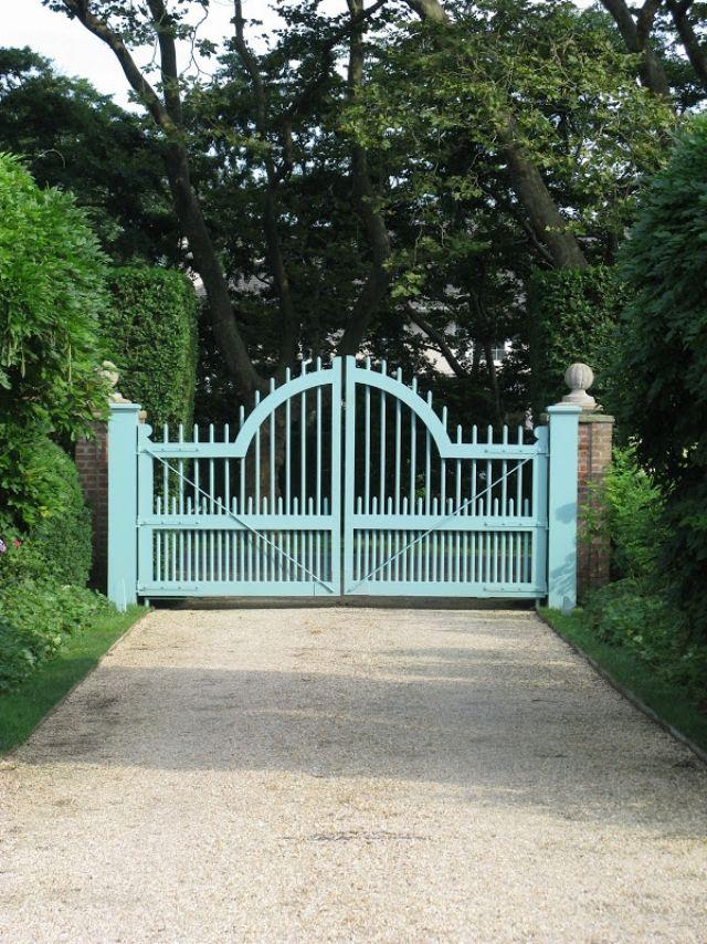 Gartentor Flugel Holz Blau Lackiert Garten Umrandung Zaun Gartentore Gartentor Tore Auffahrt