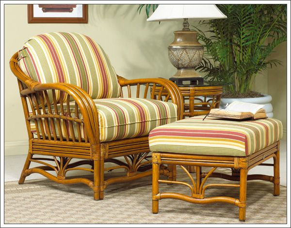 Boca Rattan Antigua Wicker Arm Chair And Ottoman Bedroom