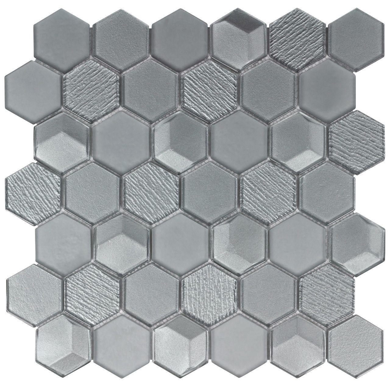 Glass Mosaic Tile Hexagon Gray | Mineral Tiles