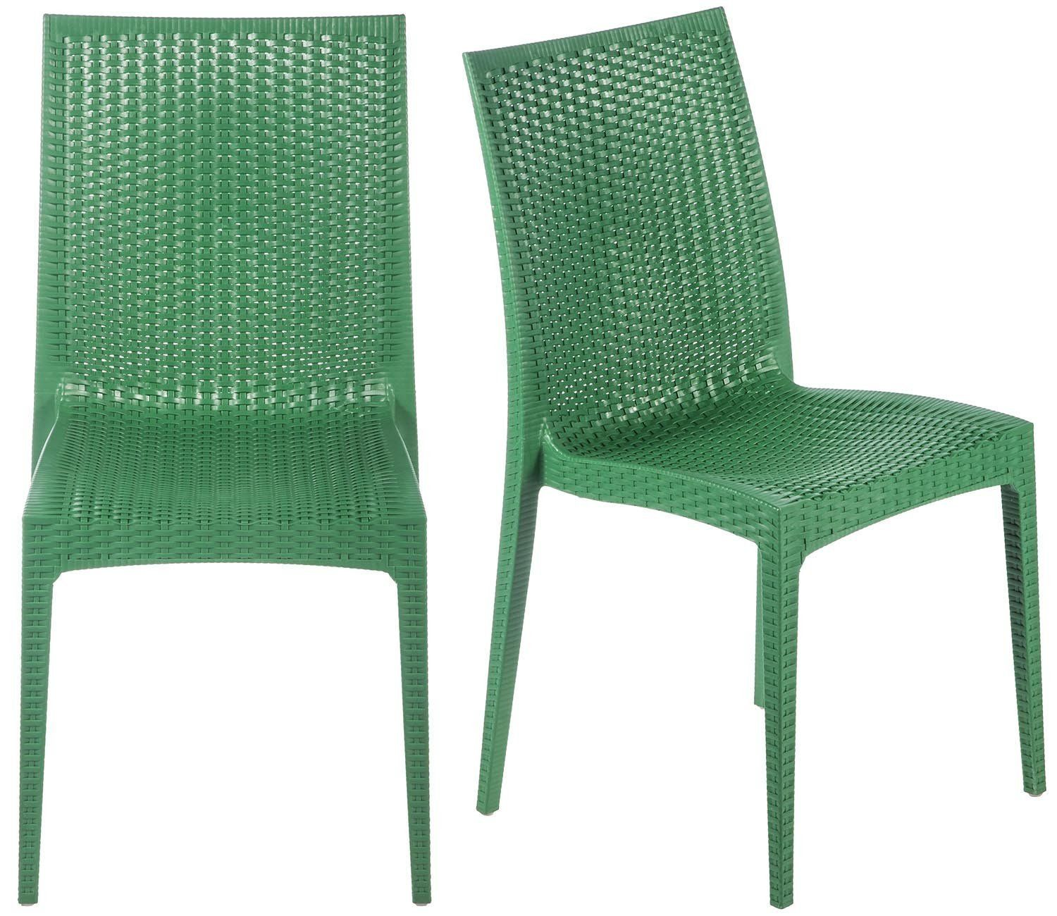 AmazonSmile Merax Rattan Style Stackable Plastic Dining Chairs