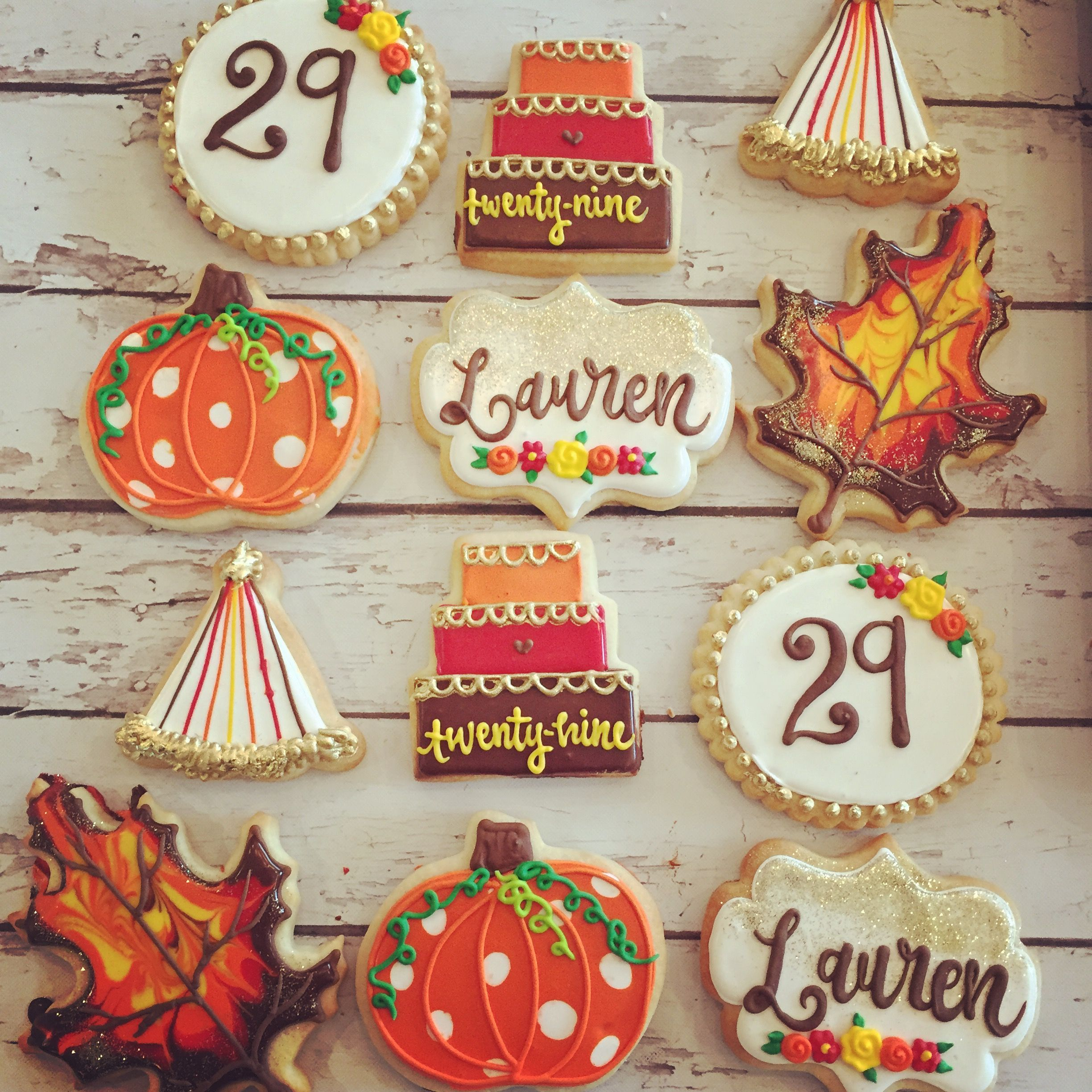 Fall themed birthday cookies by Hayleycakes and cookies in Austin