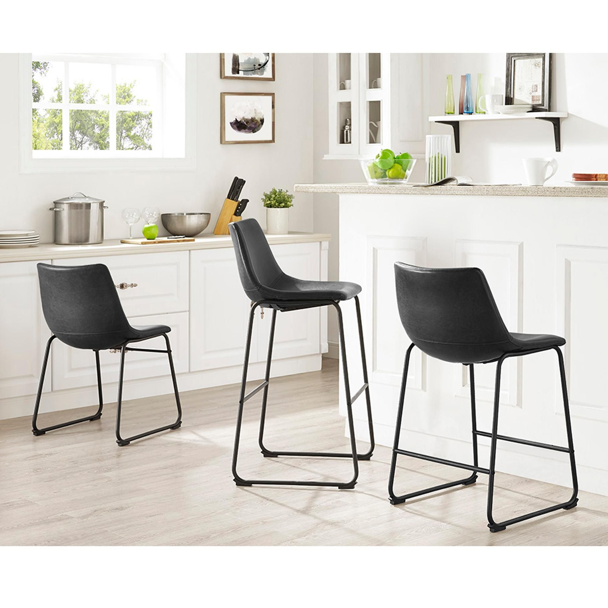 Marvelous Amazon Com We Furniture Black Faux Leather Dining Chairs Pabps2019 Chair Design Images Pabps2019Com