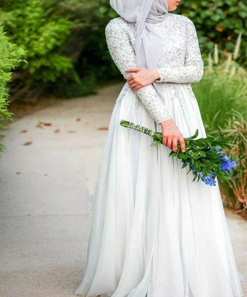 Arabic Long Wedding Dresses With Hijab Elegant High Collar Long Sleeve