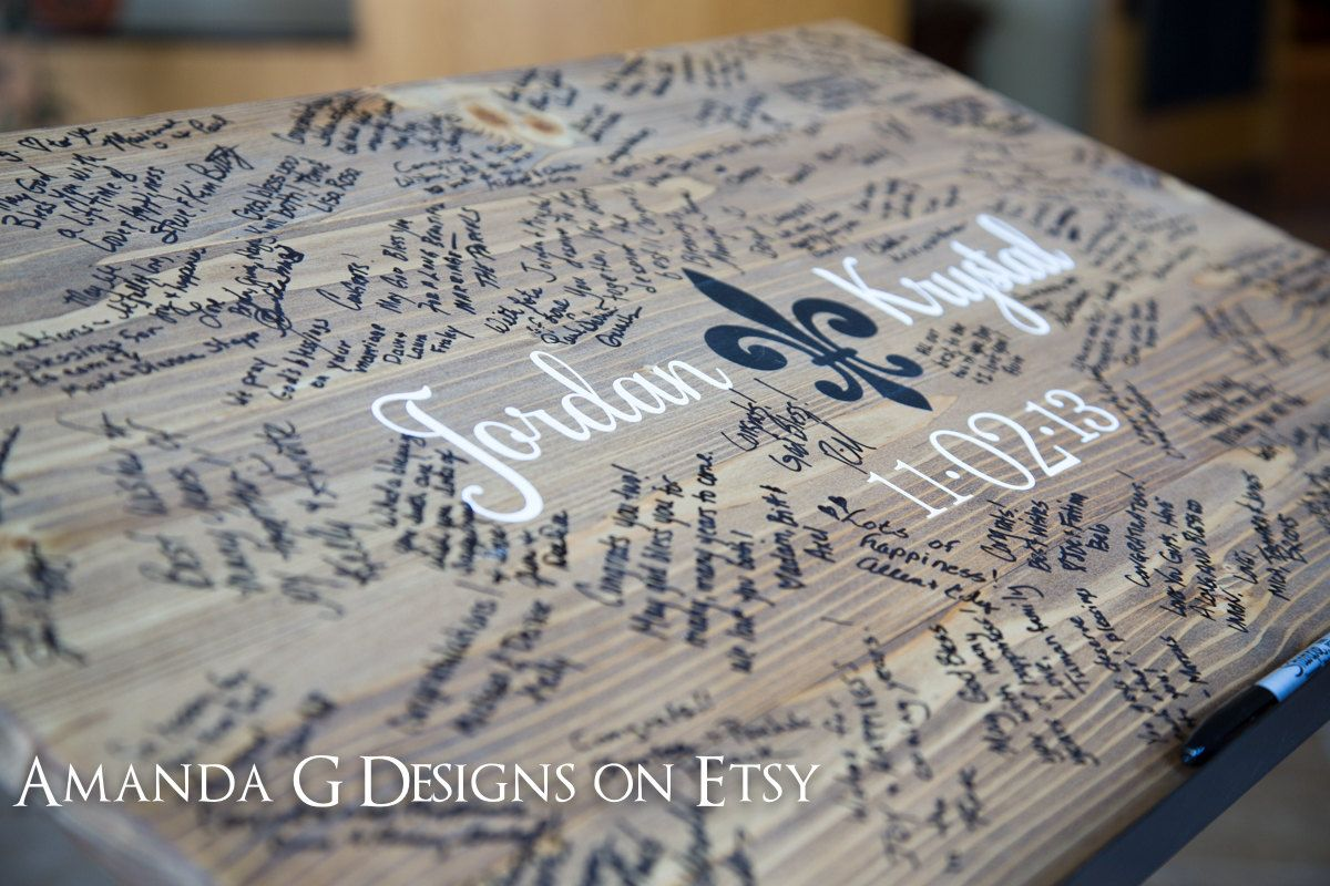 Wedding Sign Guest Book Hand Painted Fleur De Li By AmandaGdesigns 8500