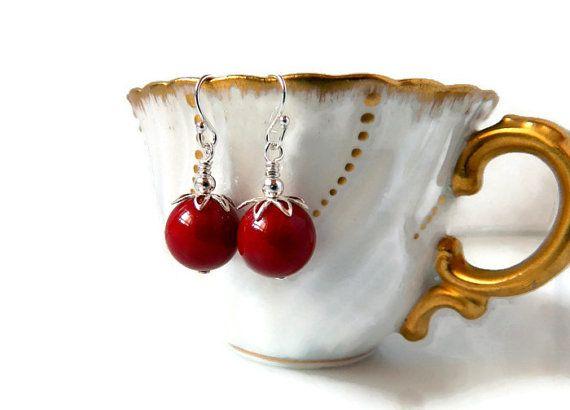 Red Coral Earrings Sterling Silver Red Earrings by MsBsDesigns, $38.00