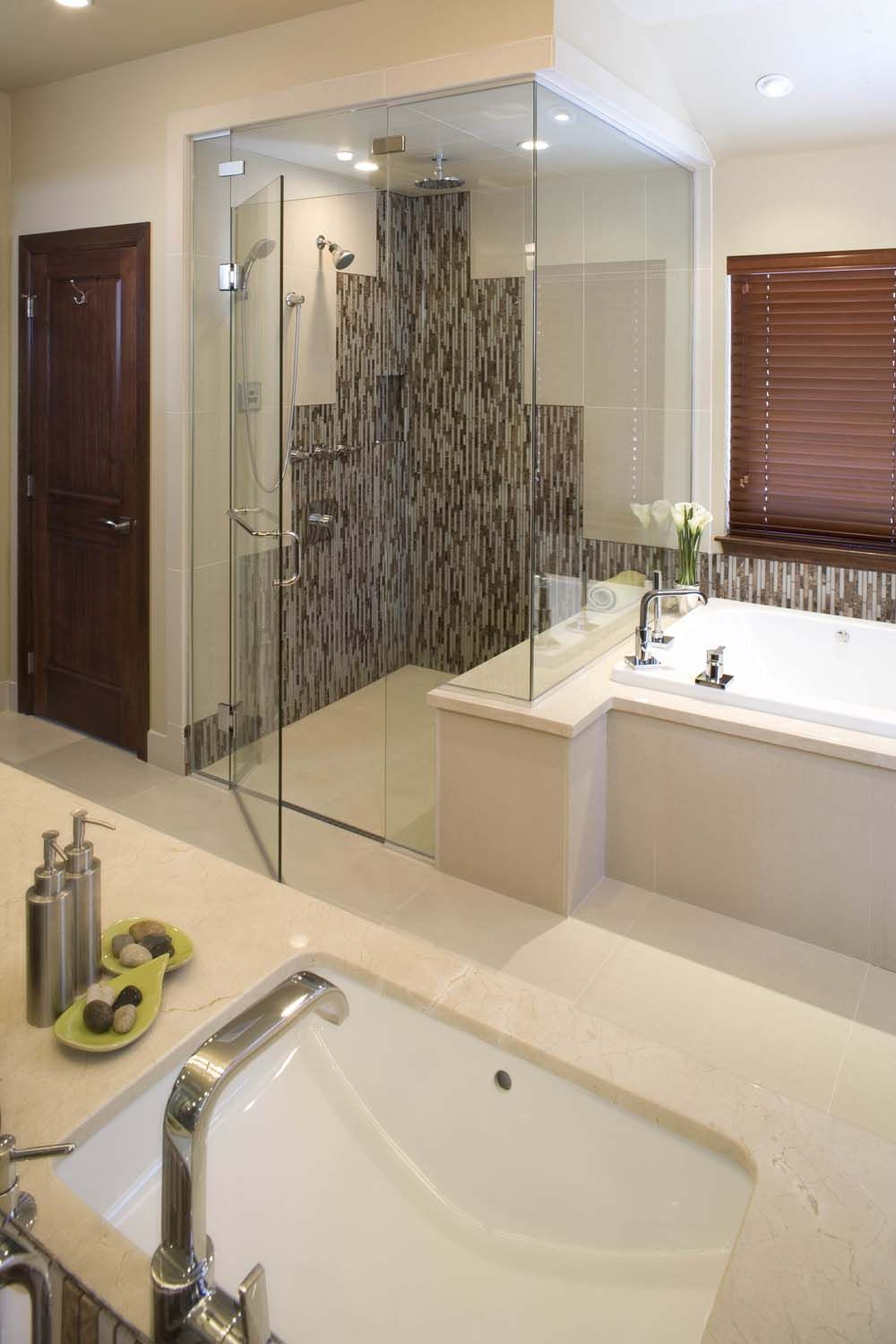 By using a door trench drain here you can have this fab shower, and ...