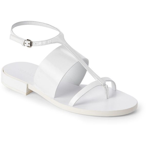 White leather shoes, White sandals flat