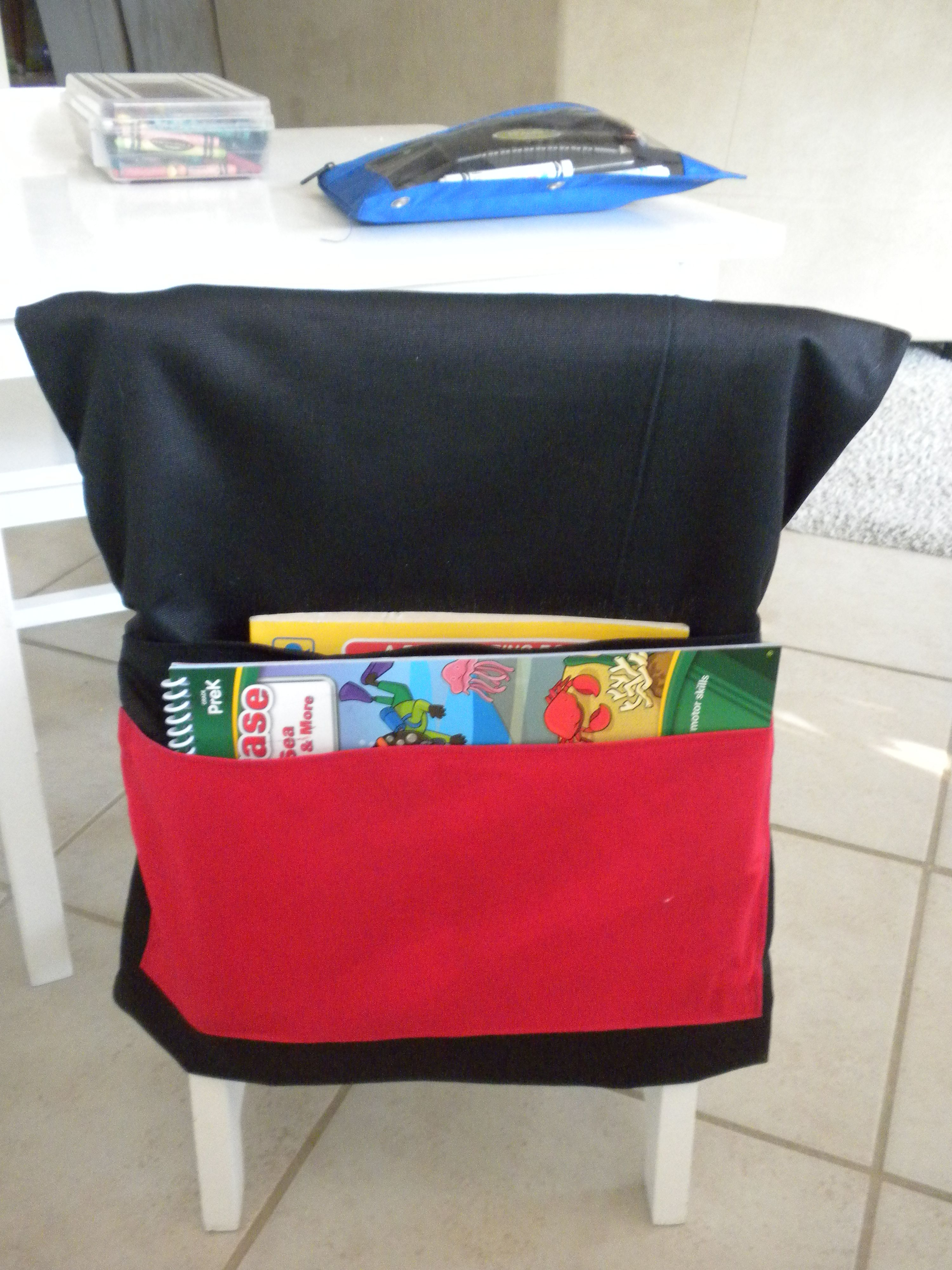 My Newest Homemade Classroom Addition. Black U0026 Red Classroom Chair Covers  With Two Pockets.