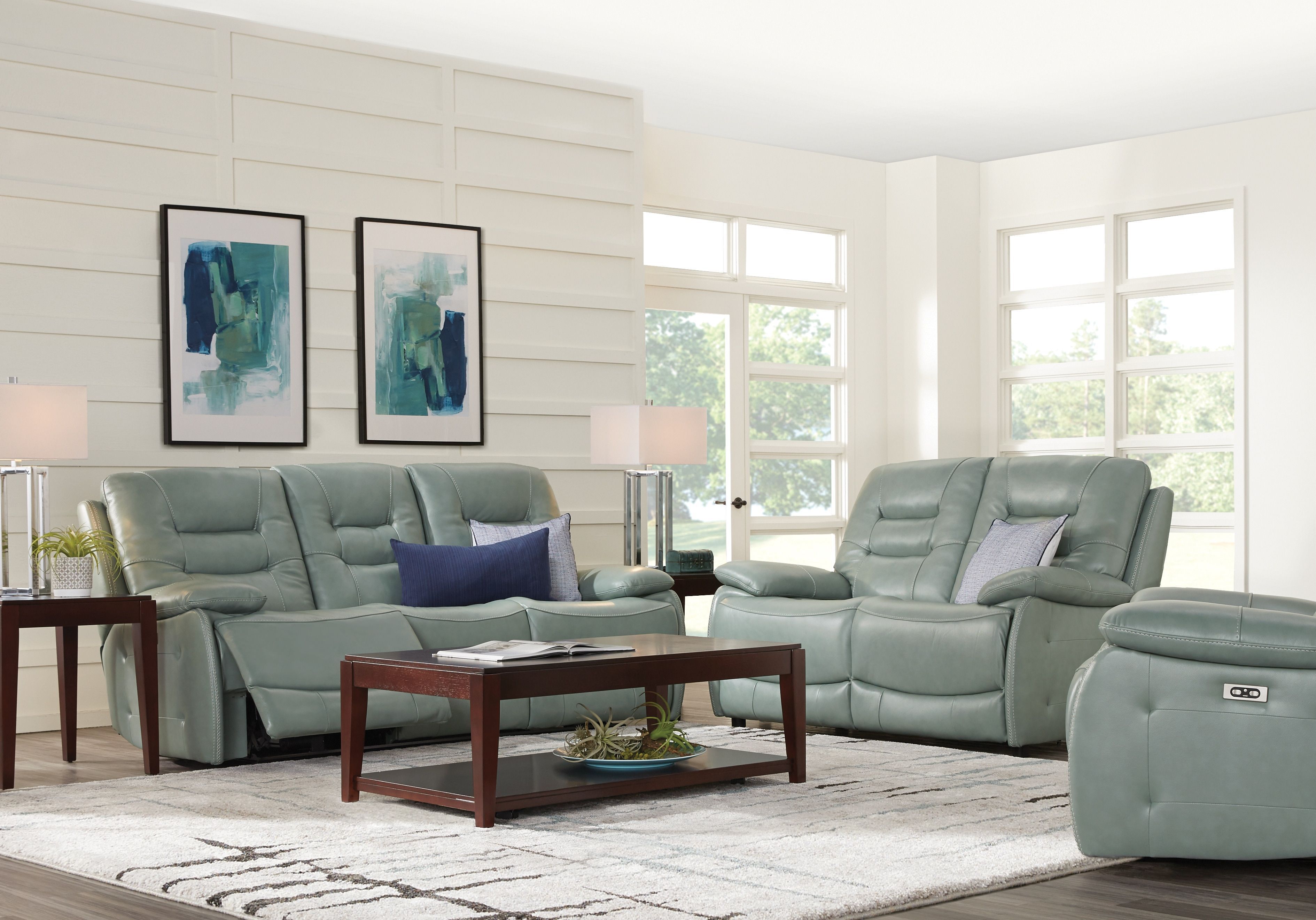 Best Carini Seafoam Leather 3 Pc Living Room With Reclining 400 x 300
