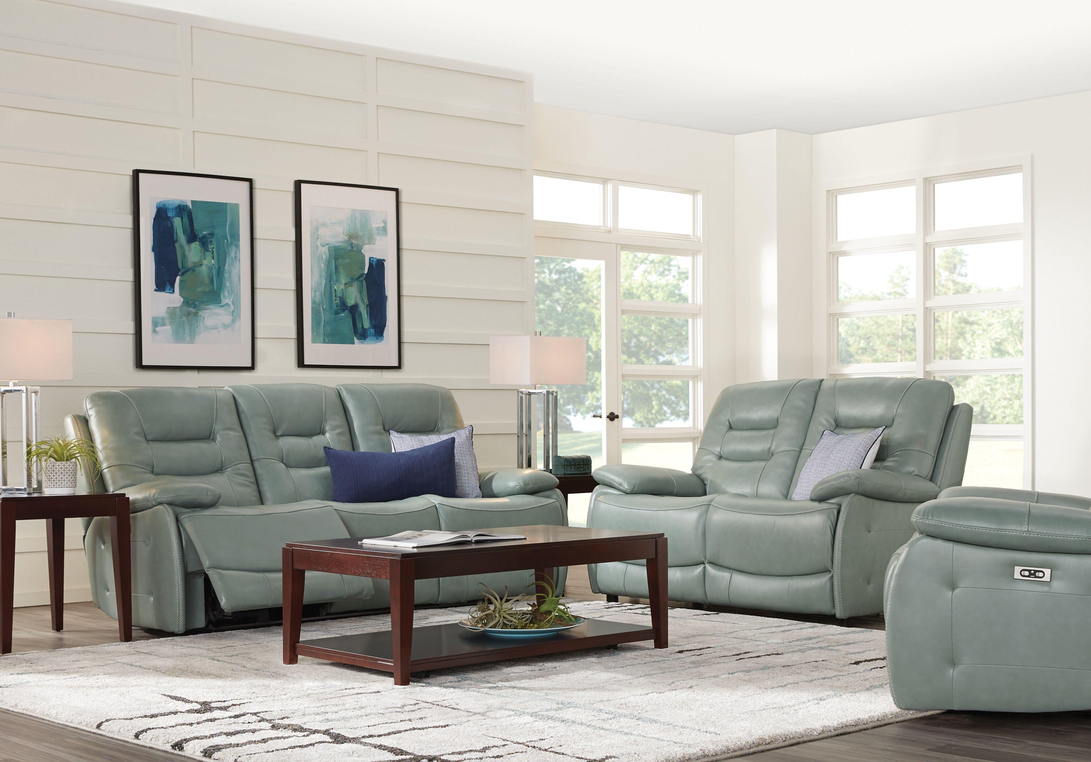 Carini Seafoam Leather 3 Pc Living Room With Reclining Sofa Grey Leather Sofa Living Room Leather Sofa Living Room Green Sofa Living