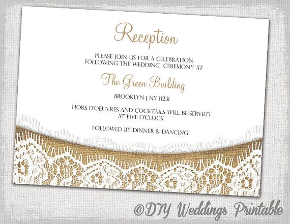 Rustic Reception Invitation Template Download Diy Printable