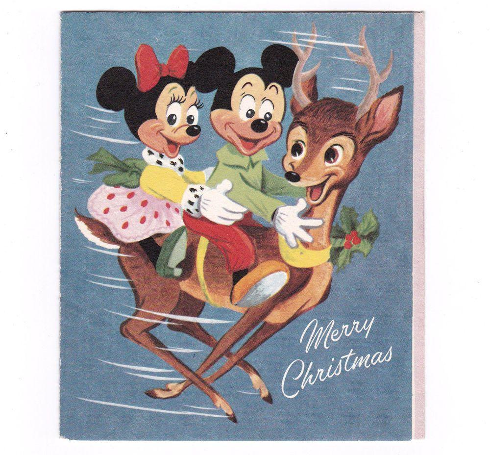 Disney Vintage Christmas Card Mickey Minnie Donald Reindeer Circa 1950s Gibson Disney Christmas Cards Vintage Christmas Cards Vintage Christmas Greeting Cards