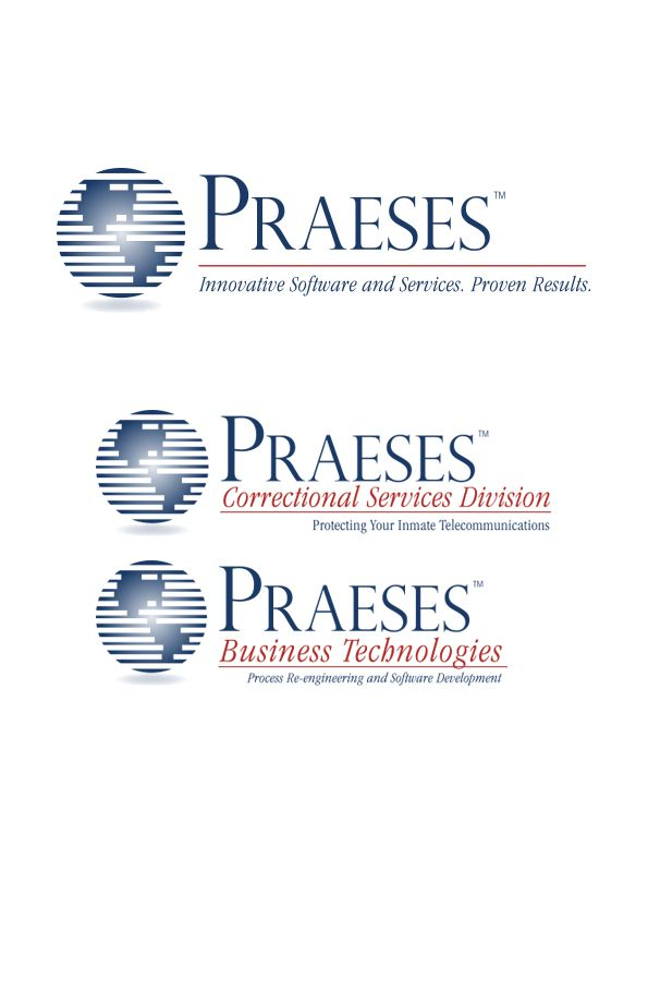 Corporate and divisional logos for Praeses, a Shreveport, LA - based software development company.